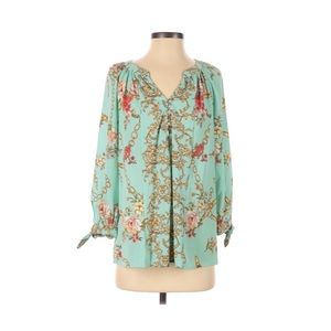 Fig and Flower Boho Peasant Top Floral Pullover